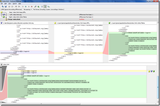 Perforce merge tool in action - click to view full size